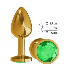 Золотистая анальная втулка с зеленым кристаллом - 7 см.