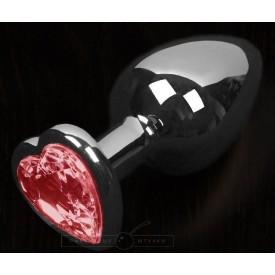 Графитовая анальная пробка с красным кристаллом в виде сердечка - 6 см.